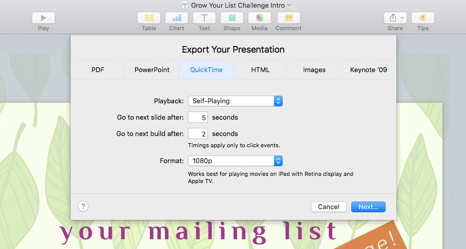 Keynote 'Export to QuickTime' sheet