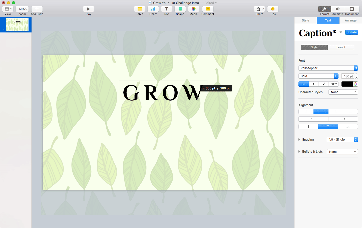 Keynote: Positioning the GROW text box