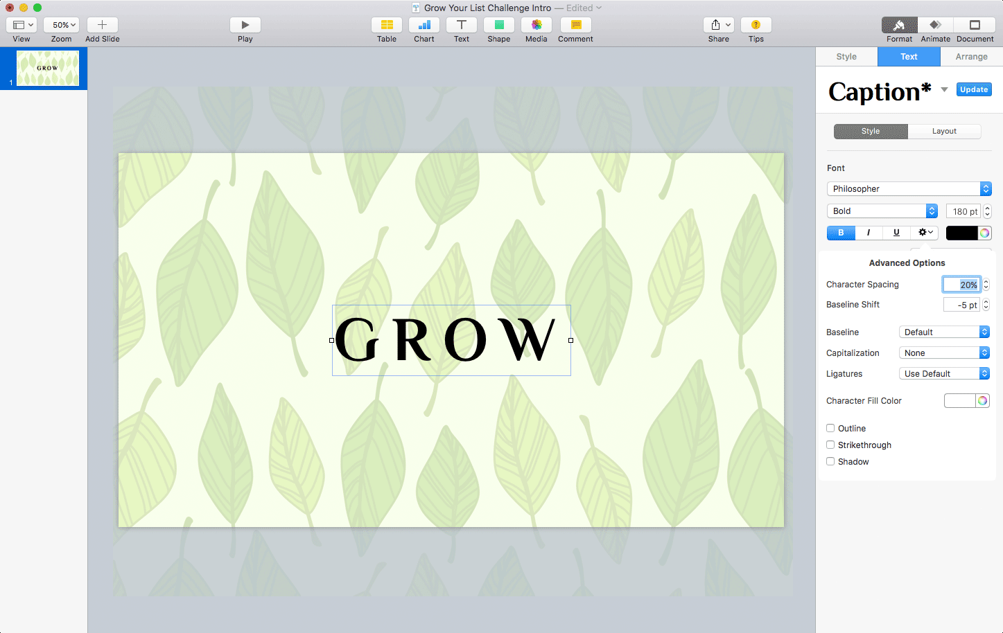 Keynote: Styling the GROW text