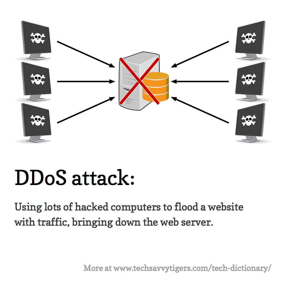 DDoS attack: Using lots of hacked computers to flood a website with traffic, bringing down the web server.