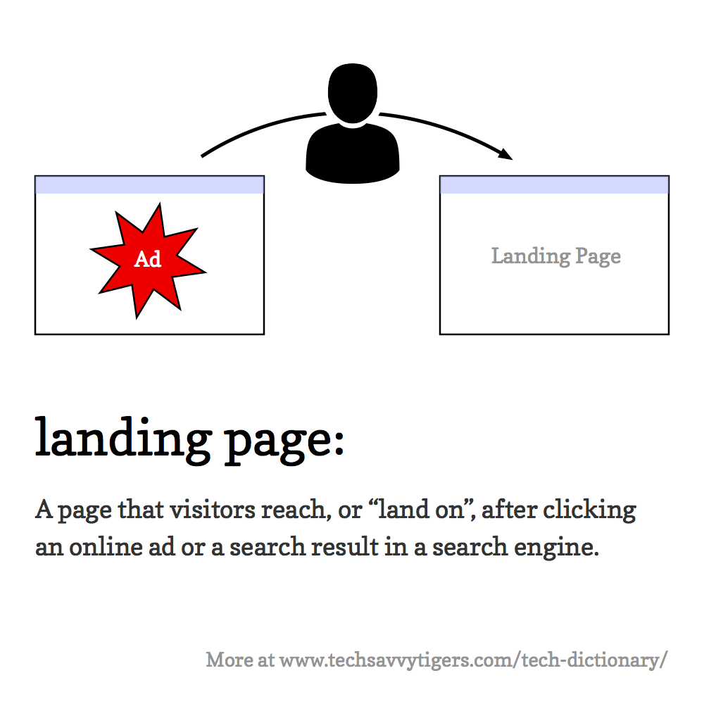 "Landing page: A page that visitors reach, or ""land on"", after clicking an online ad or a search result in a search engine."