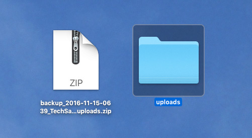 Unzipping the uploads zip file