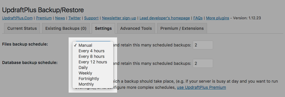 UpdraftPlus: Choosing the Files backup schedule