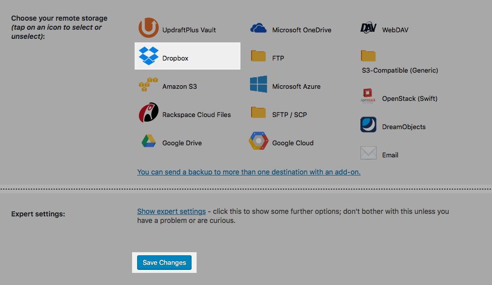 UpdraftPlus: Selecting the Dropbox option