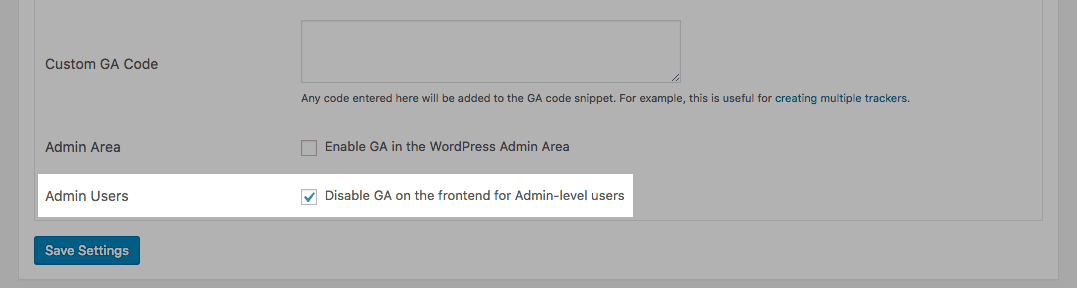 GA Google Analytics: Disable GA on frontend for admin users