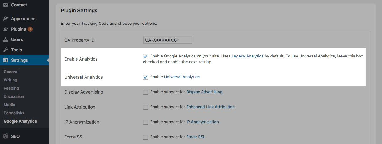 GA Google Analytics: Enable Analytics and Universal Analytics
