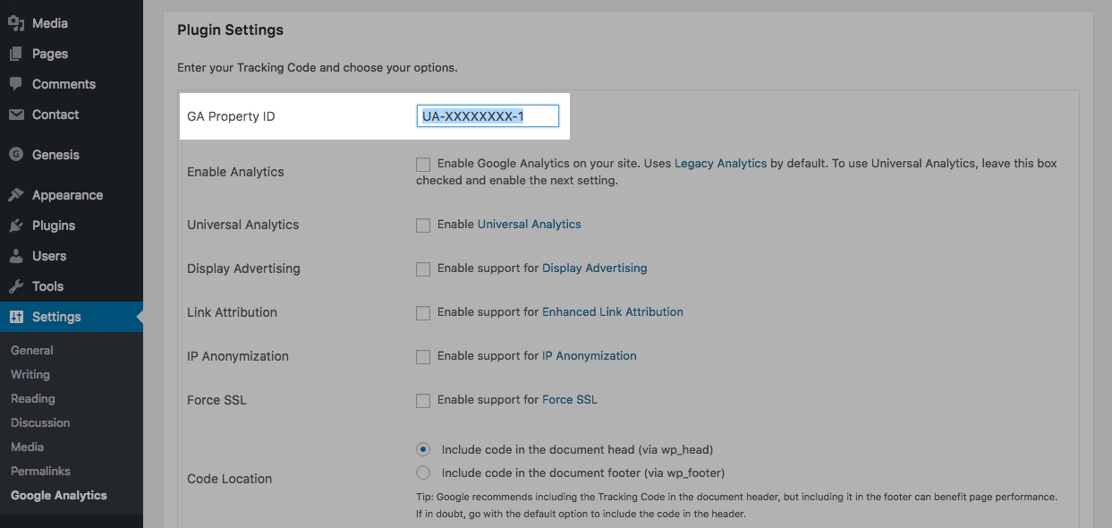 GA Google Analytics Tracking ID