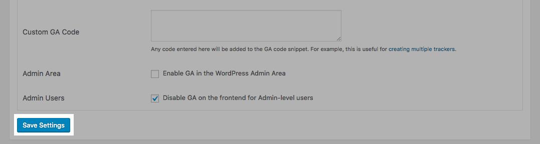 GA Google Analytics: Save Settings button