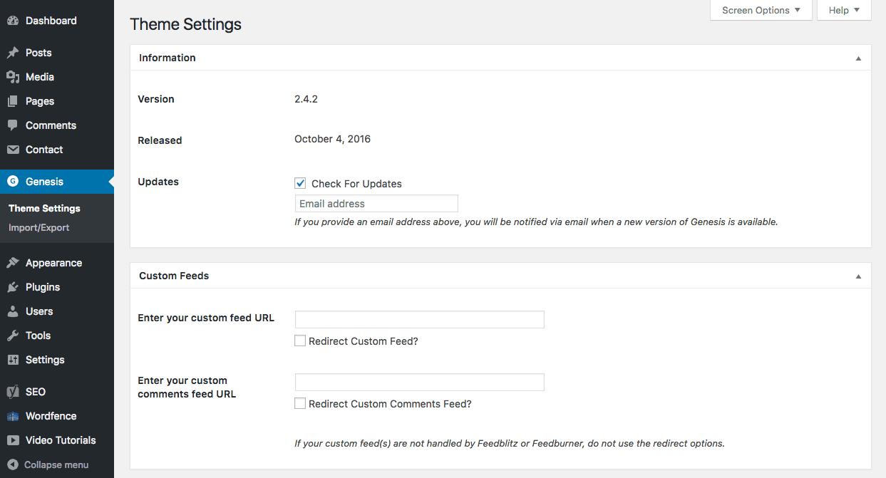 Genesis theme settings