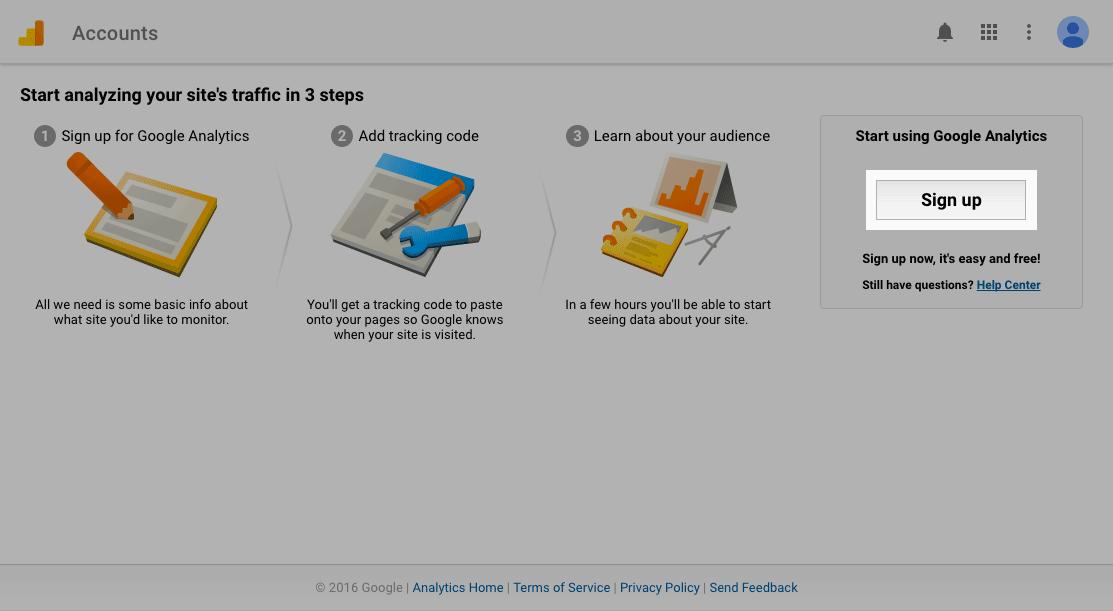 Google Analytics setup process