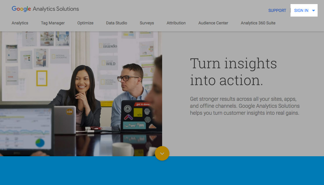 Google Analytics: Sign In link