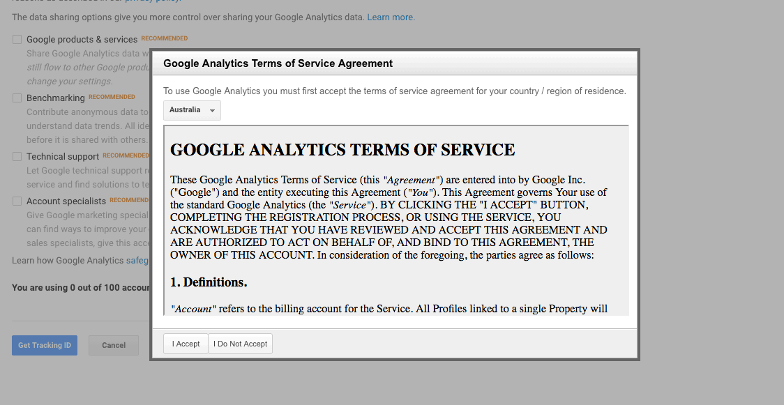 Google Analytics terms of service