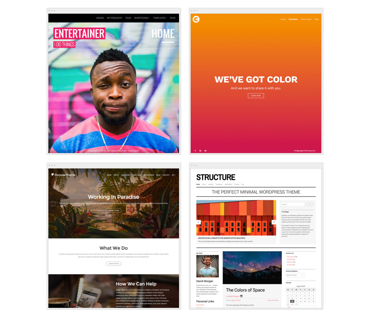 Organic Themes WordPress themes