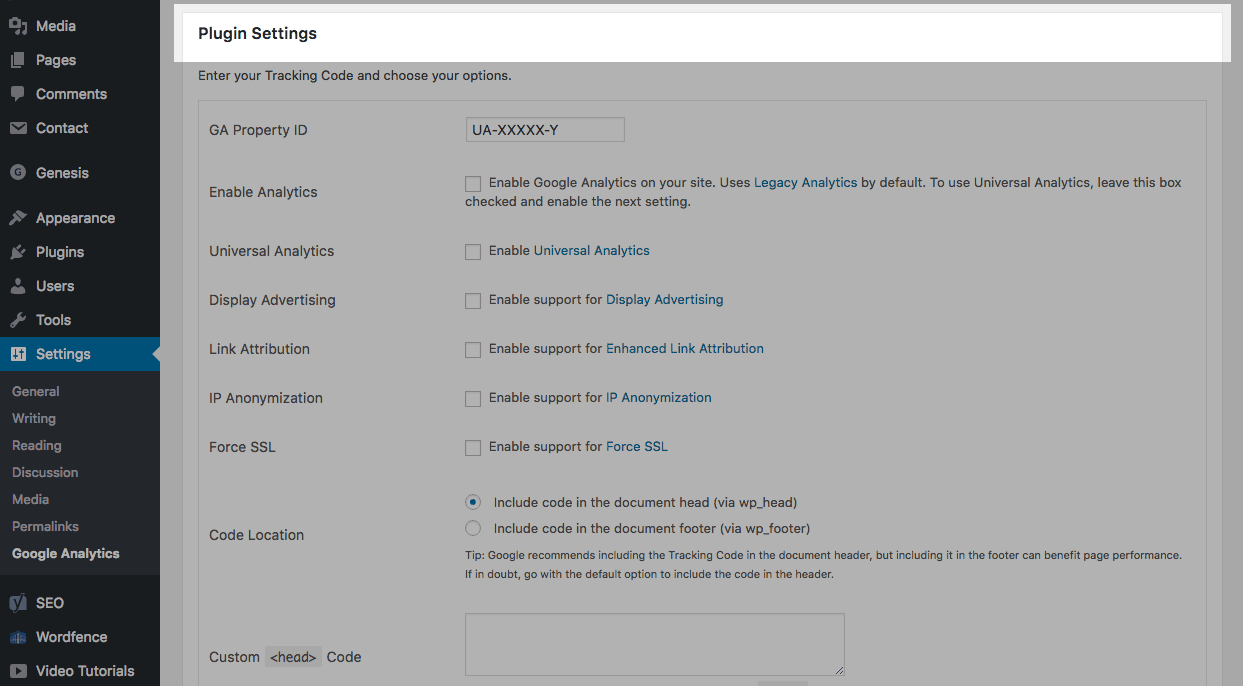 WordPress: GA Google Analytics plugin settings