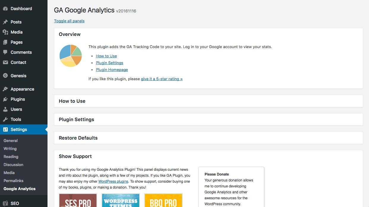 GA Google Analytics settings page