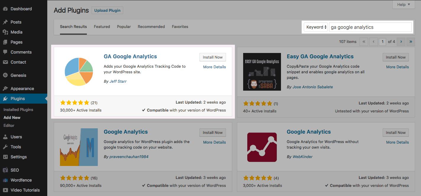 Installing the GA Google Analytics plugin in WordPress