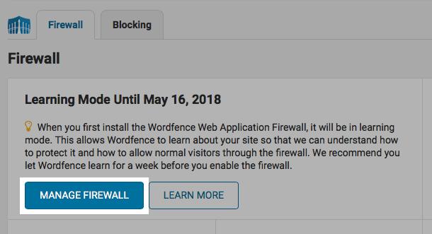 Wordfence Manage Firewall button