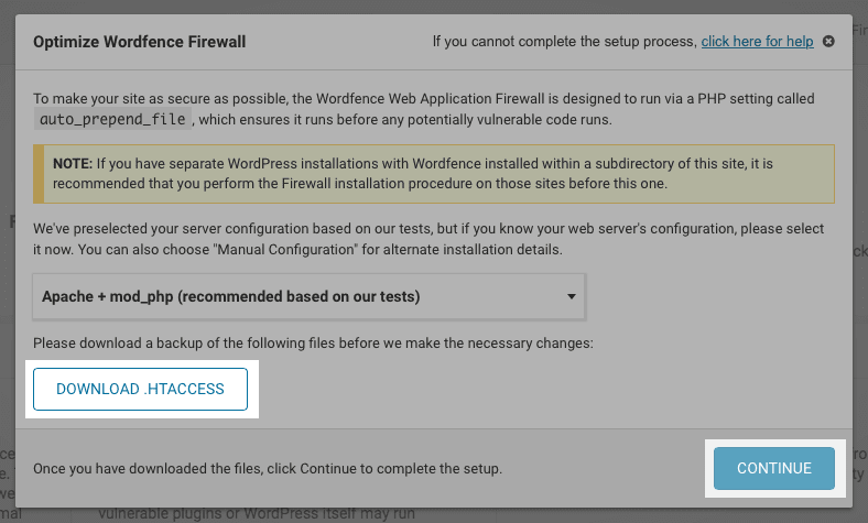 Wordfence: Optimize Firewall popup