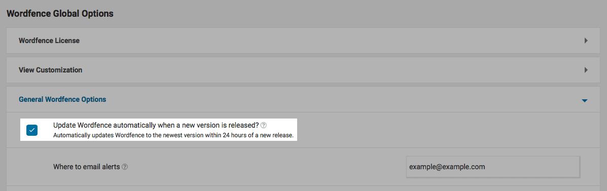 Wordfence option: automatic updates