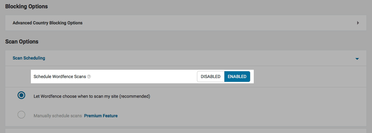 Wordfence option: Enable automatic scheduled scans