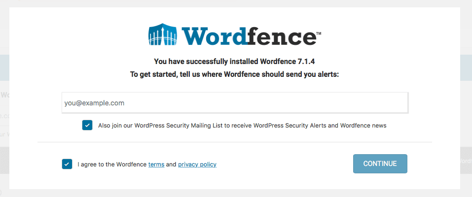 Wordfence post-activation: Enter email address