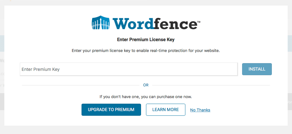 Wordfence post-activation: Premium licence key