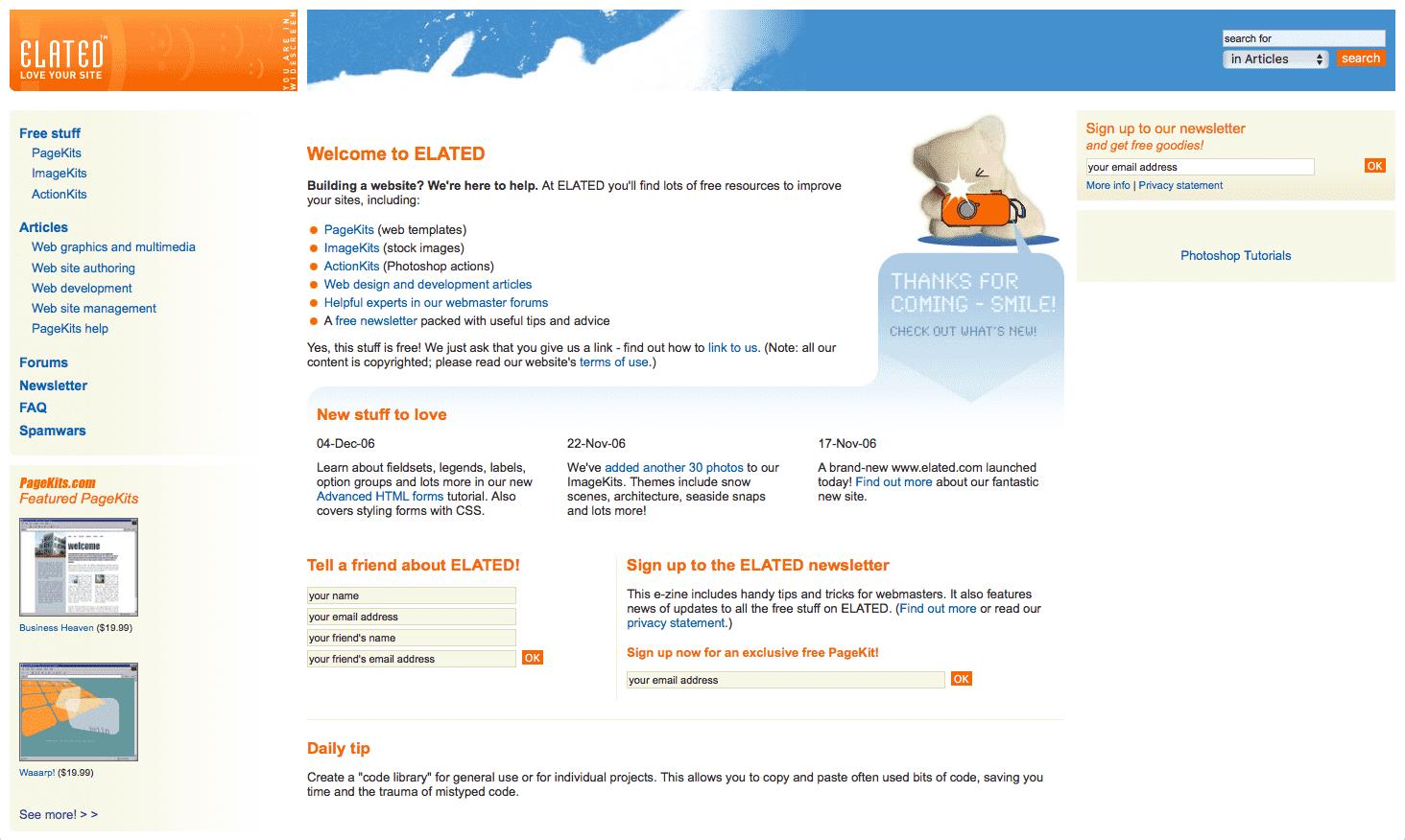 Screenshot: elated.com version 3
