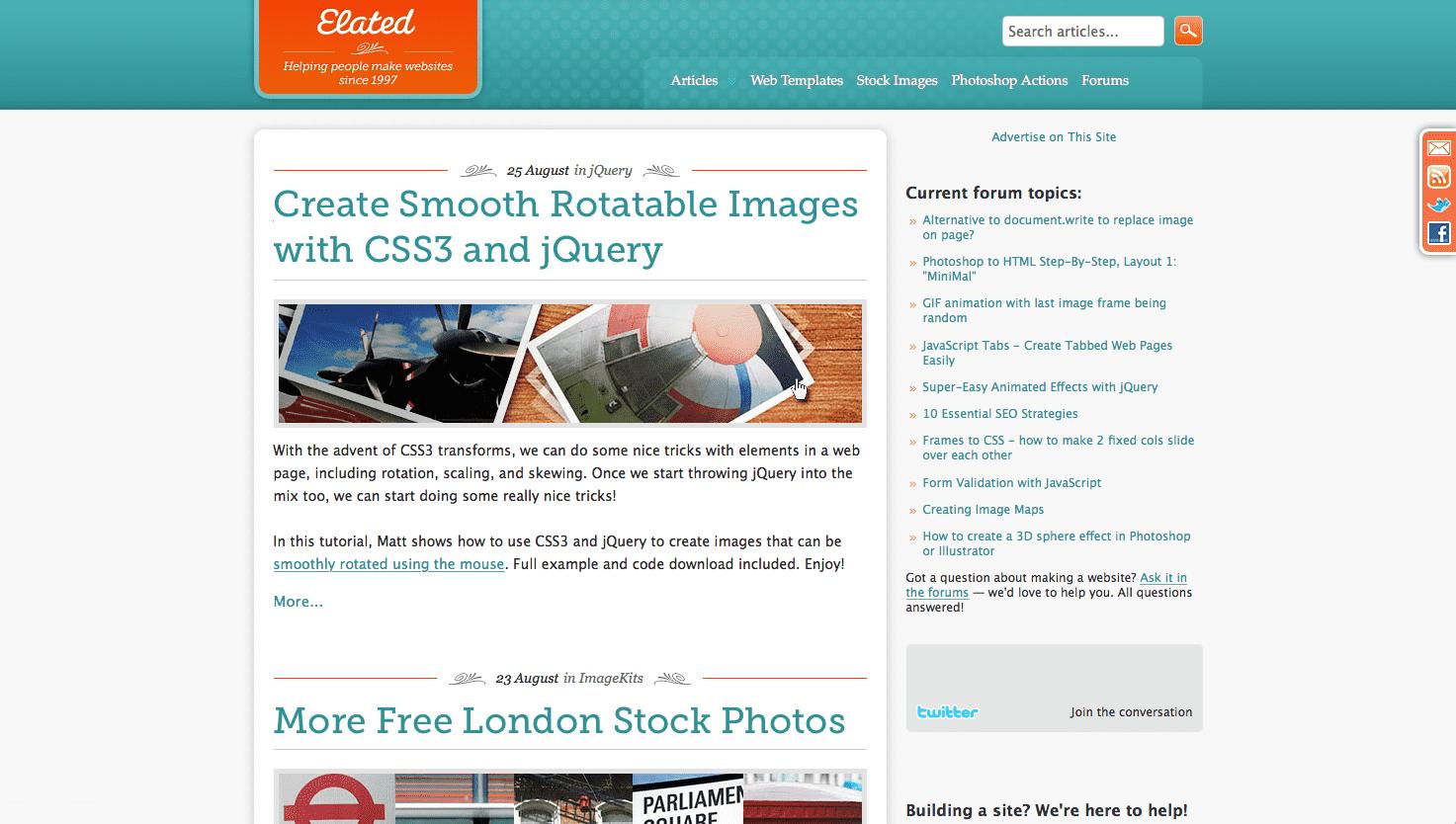 Screenshot: elated.com version 4