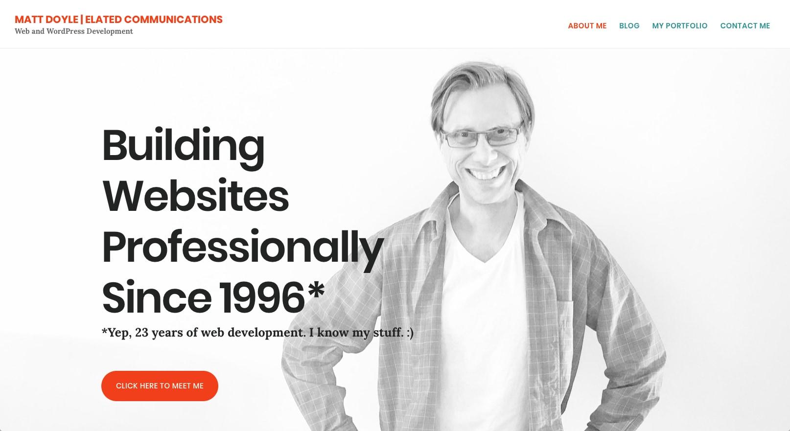 Screenshot: elated.com version 5