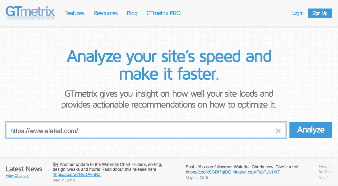 GTmetrix screenshot: checking your website speed