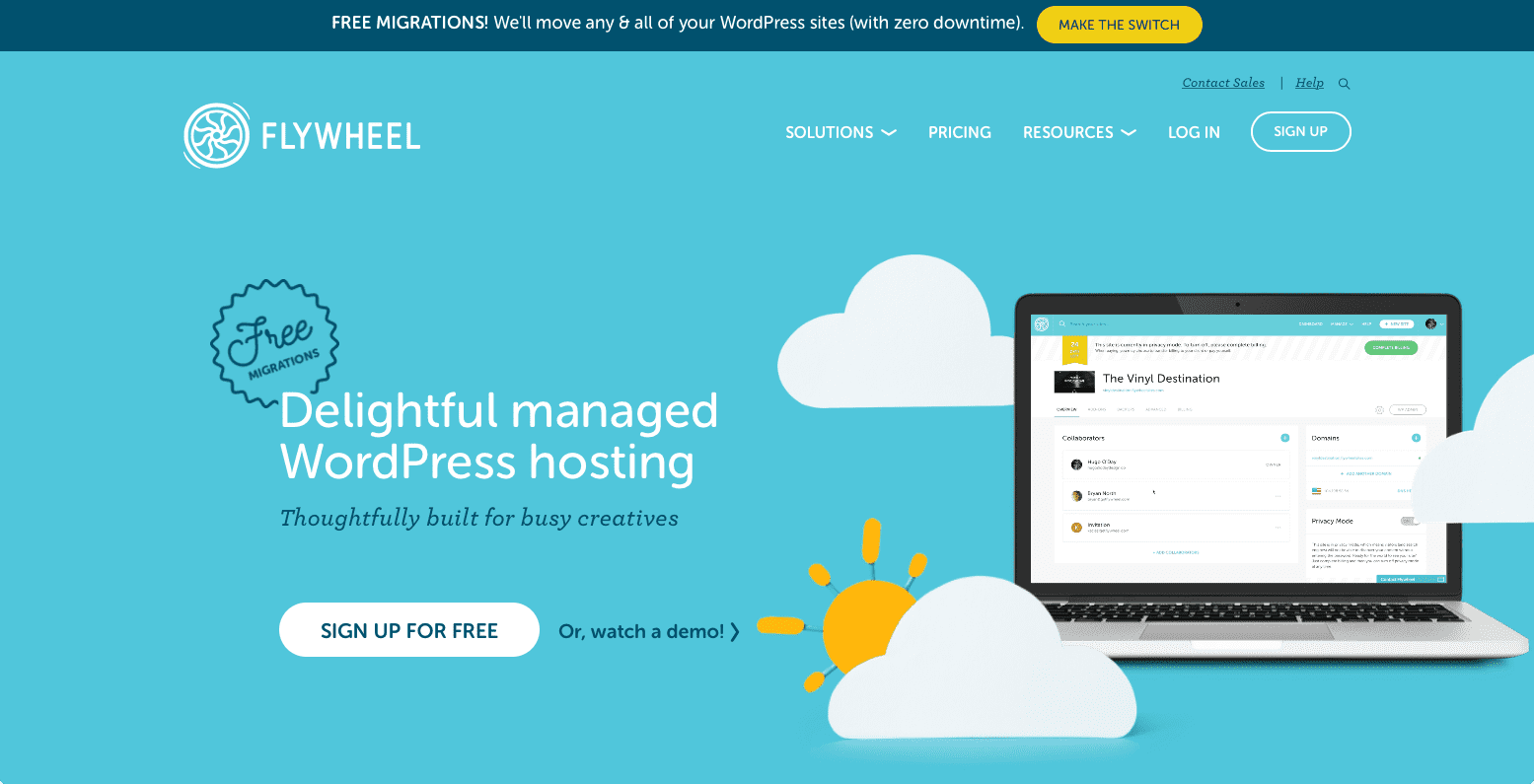 Flywheel Managed WordPress Hosting website screenshot