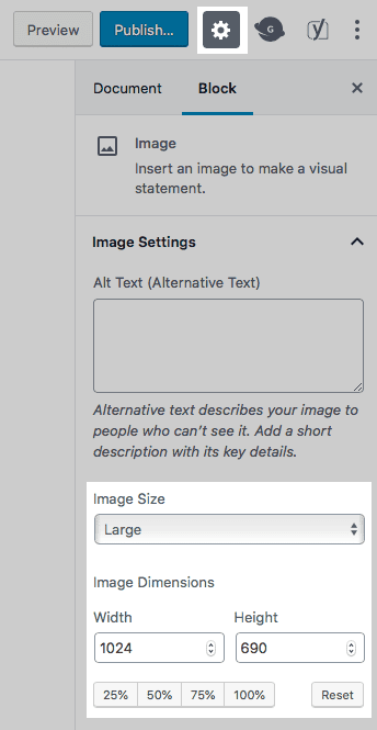 WordPress screenshot: Resizing your images in WordPress to make them load quickly