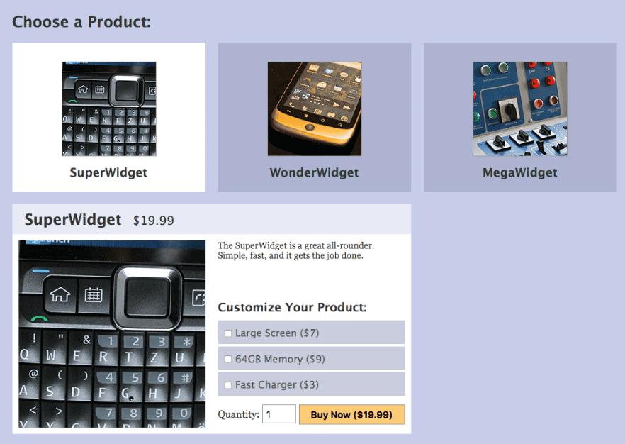 Knockout JS framework: Shopping cart demo