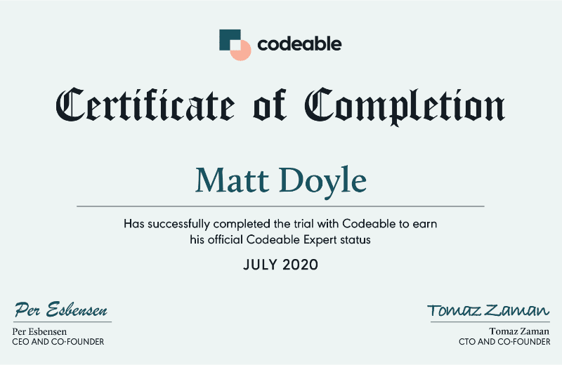 Matt Doyle - Codeable Expert Certificate