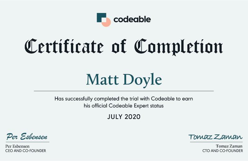 Matt Doyle - Codeable Expert Certificate